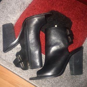 Black BCBG chunky heel peep toe booties
